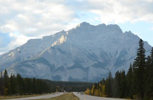 Approaching the Rockies as we headed towards Banff