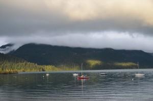 Harrison Lake this  morning - some sun finally....