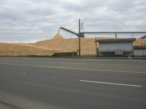 The Oregon Chip terminal - truckloads of chips come in and they pick up the entire trailer and dump it into the hopper