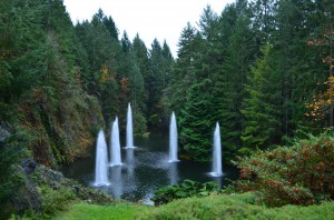 One of the many water features at Butchart Gardens