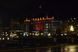 The Empress Hotel at night