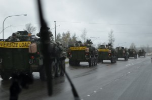 One of the army convoys on the highway