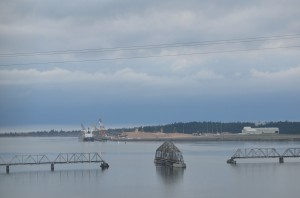 Entering into North Bend/Coos Bay area. Bridge has been turned to allow ships to enter.