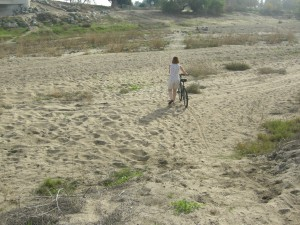 """Biking on the Beach?? - Nope - it's the Kern River """"riverbed"""""""