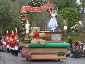 The beginning of the Christmas Disney parade