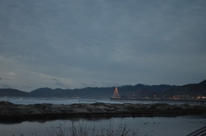 The Christmas tree at the end of Pismo Pier