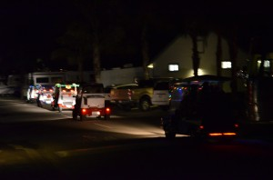 A Saturday night lighted golf cart parade in the park