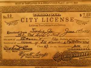 You had to obtain a license to be a prostitute in Tombstone