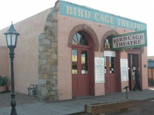 Outside the infamous Birdcage Theatre
