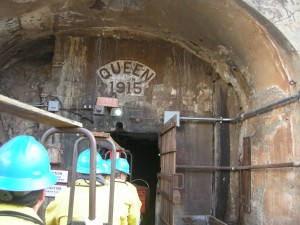 Riding the trolley into the mine