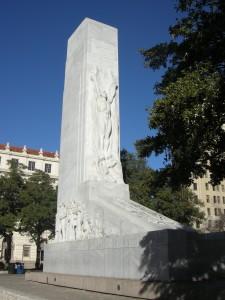 A monument outside the Alamo