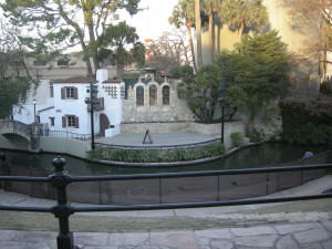 Open air theatre on the Riverwalk - stage on one side the river; seating on the other