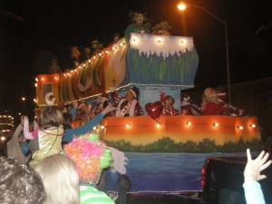 Krewe of Bonaparte Mardi Gras Parade in Lafayette on Valentine's Day evening