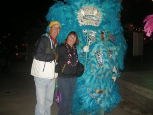 Us with a Mardi Gras Mascot at The Blue Moon Bar after the parade