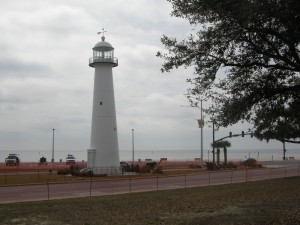"Biloxi's ""iconic"" lighthouse signifying it's resilience from many storms over the past 160+ years- built in 1848 using a cast iron shell lined with brick"