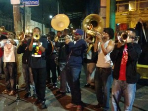 "A ""2nd line"" - a common sight on Frenchman Street later in the evenings - usually high school kids playing for tip money"