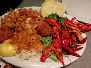 This is the delicious dinner we had at Crawfish Town USA