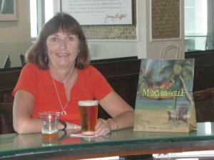 Kathy enjoying a beer at Frank & Lola's