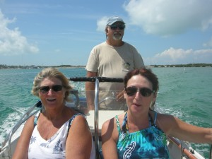 "Islamorada - on the way to the ""Sandbar"" - brother Stephen, sister in law Sue and Kathy"