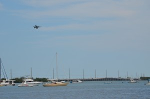 Jet Training over the bay by our site