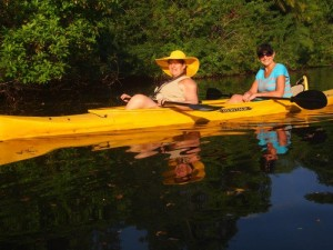 Donna and Michelle in their kayak