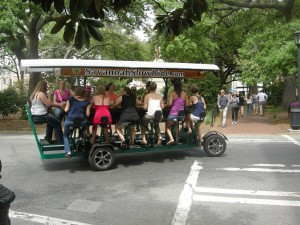 Pedal power - many bridal parties in town