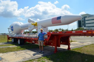 Relica of the future rocket and emergency escape rocket on the Orion/SLS