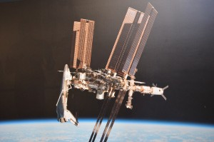 Picture of a picture showing the Orbiter docked with the ISS