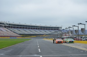 Looking the other way long pit row towards Turn 4